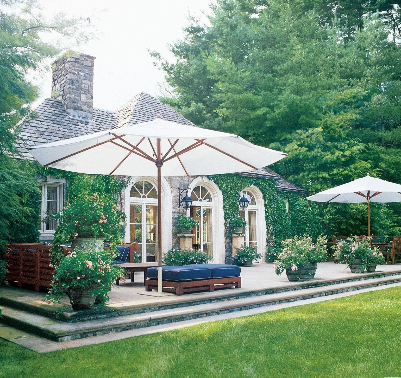 umbrella-covered patio
