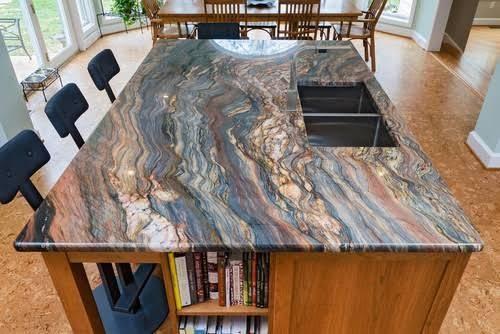multi-colored granite kitchen island