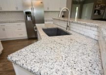 White granite with black and grey spots