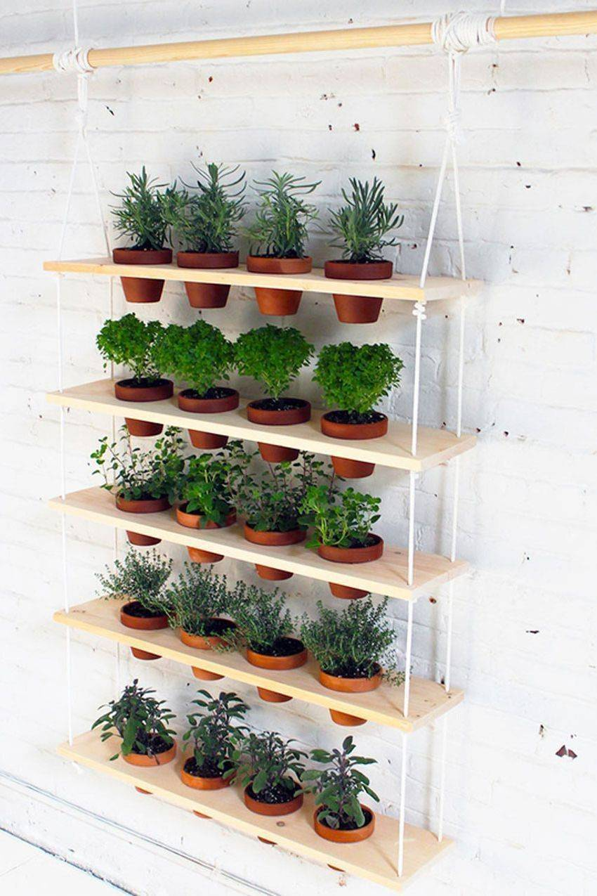 suspended hanging garden on curtain rod