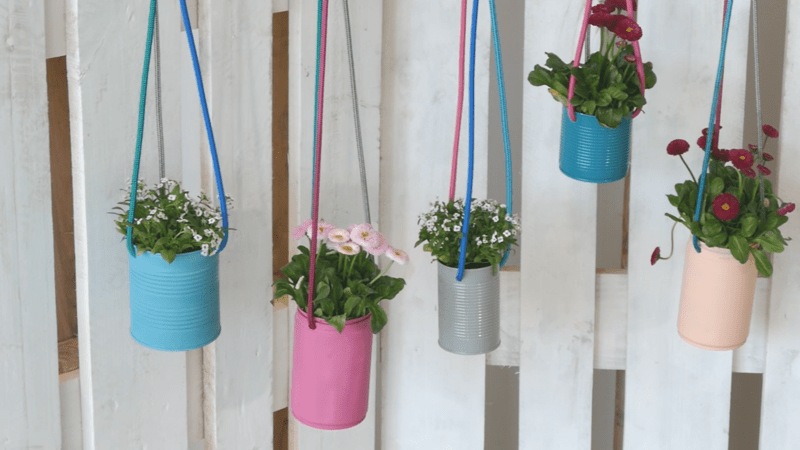 repurposed paint cans for hanging planters