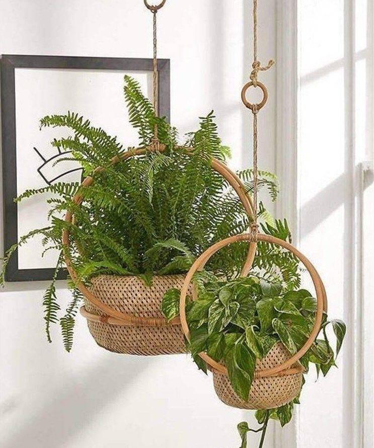 wicker basket hanging planters