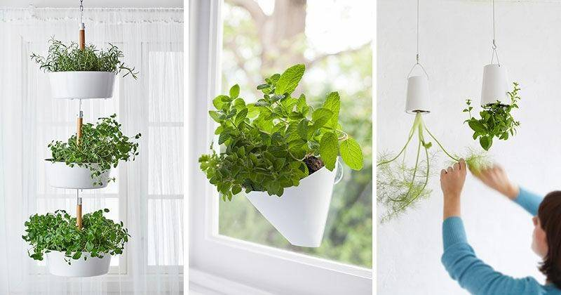 white hanging stacked planters