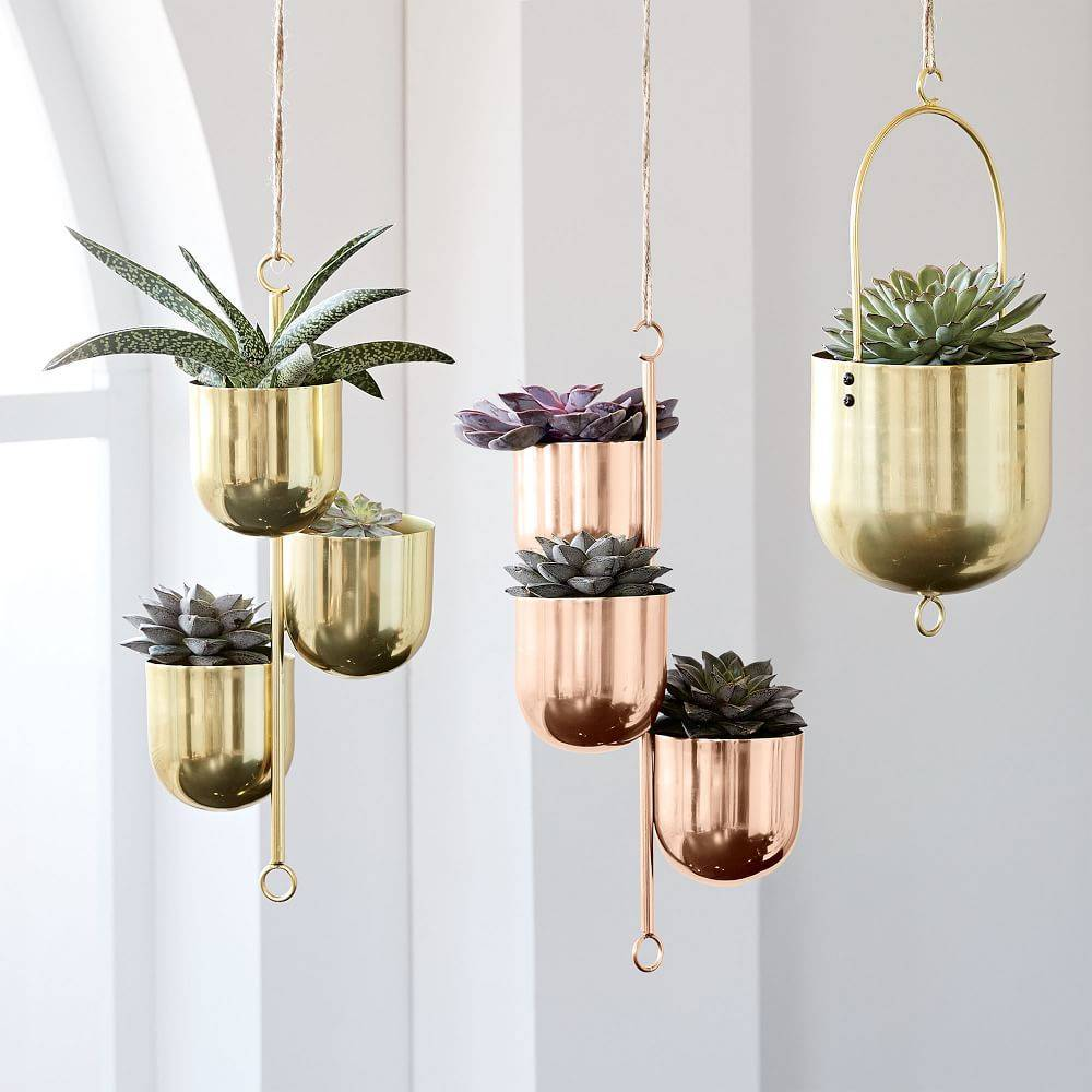 gold and bronze hanging planter bowls