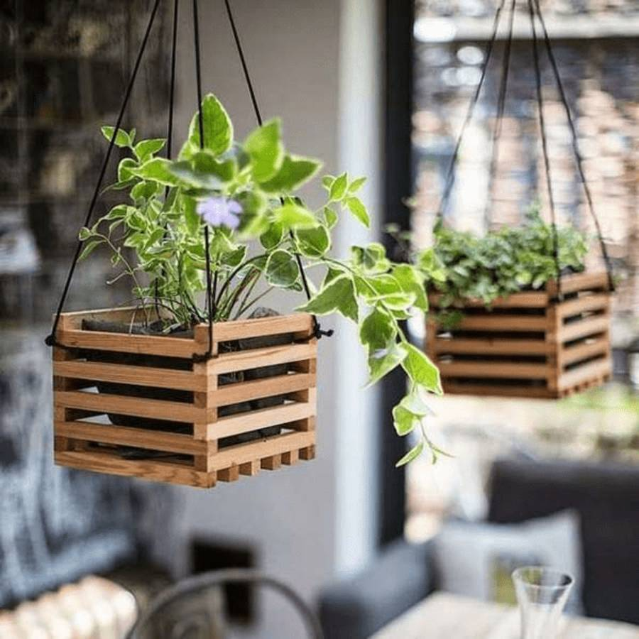wooden crate planters hanging outdoors