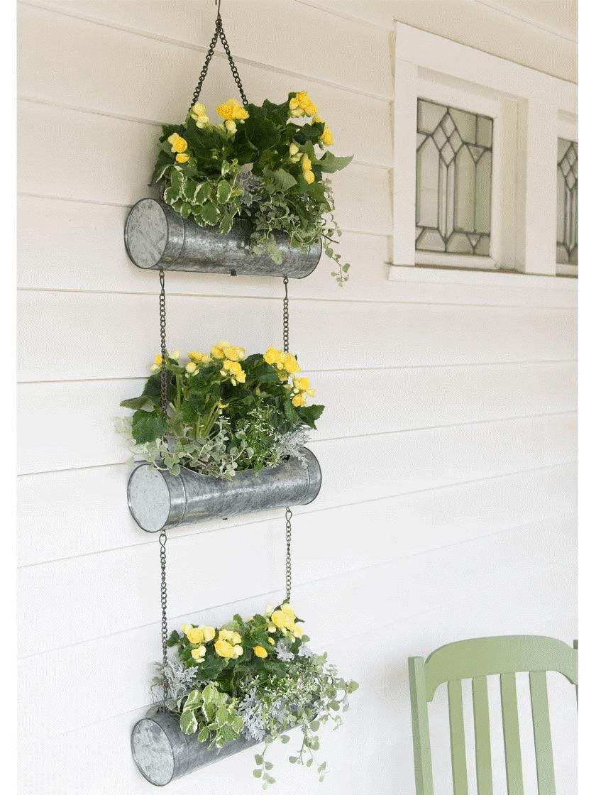 aluminum cylinder hanger planters