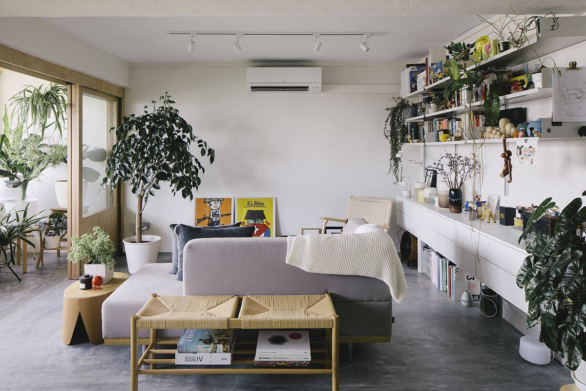 Balcony becomes a natural extension of the living area when the glass doors are open
