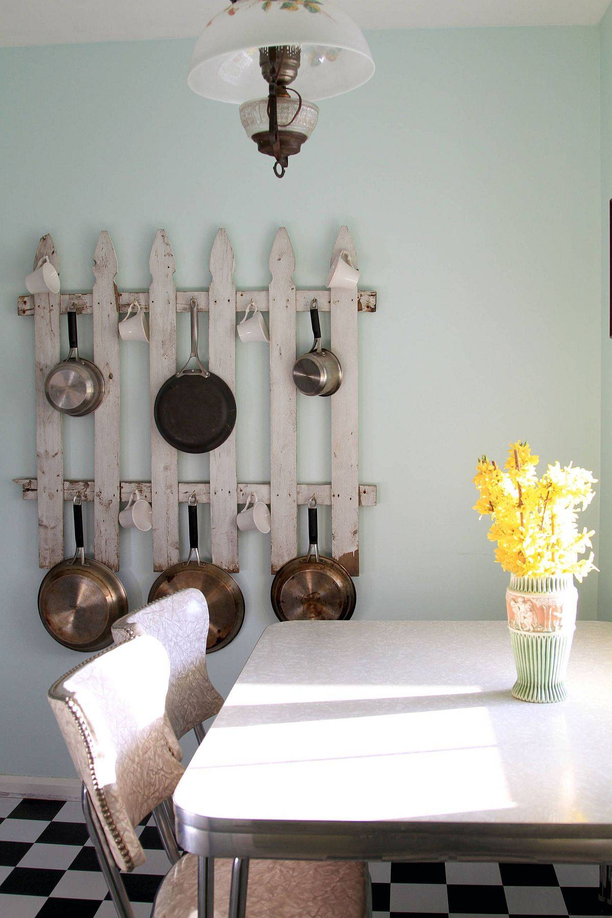 Find your own innovative pot rack in the kitchen that goes beyond the mundane