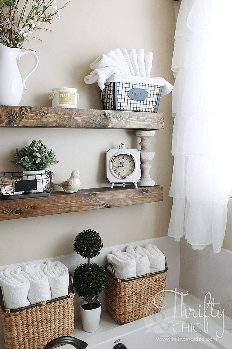 Floating-wooden-shelves-are-just-apt-in-the-small-farmhouse-bathroom-47930