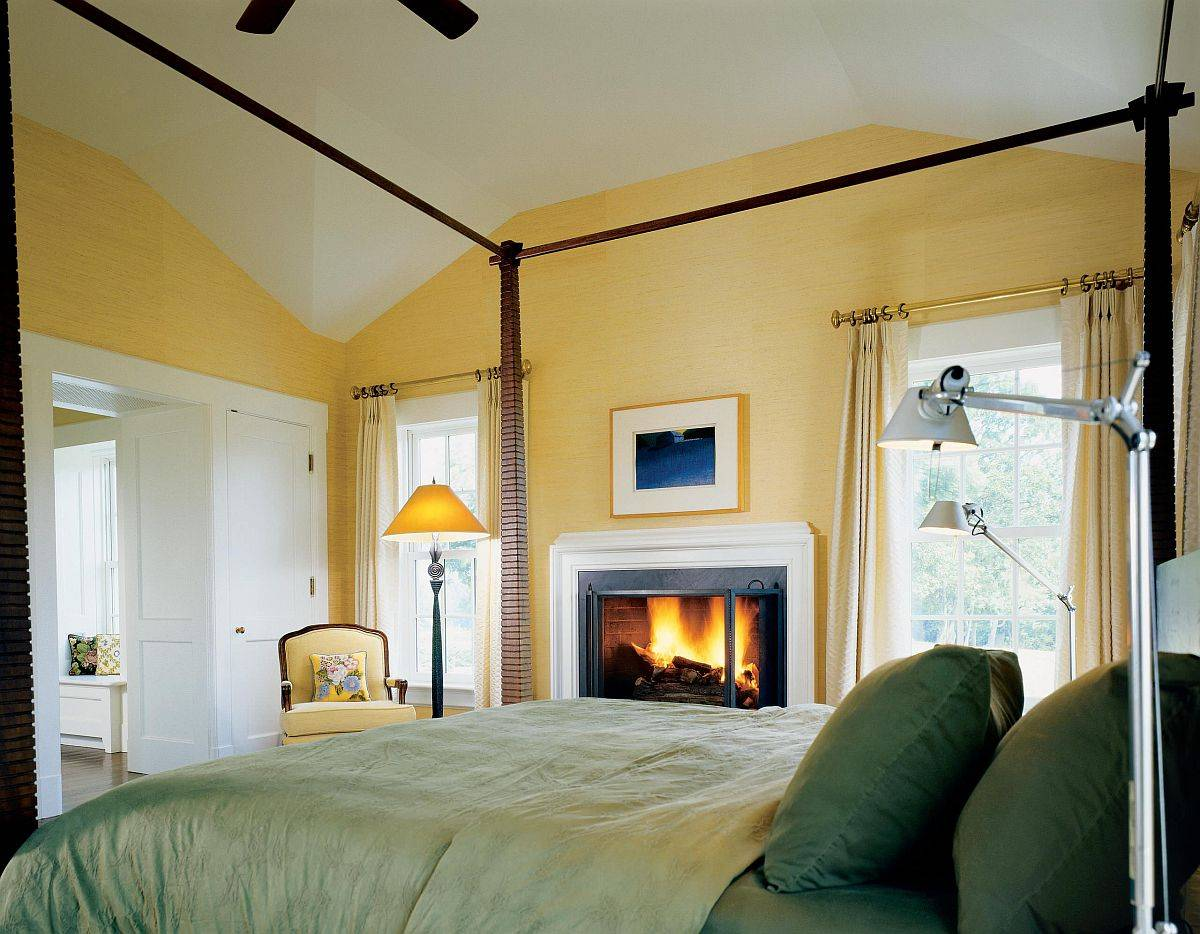 Grasscloth-wallpaper-in-yellow-and-bedding-in-green-bring-color-to-this-cozy-bedroom-73229