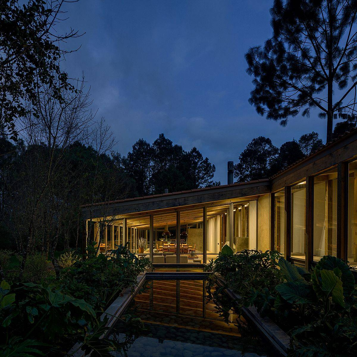 Greenery, water features and tranquil living add to the ambiance of this mexican forest home