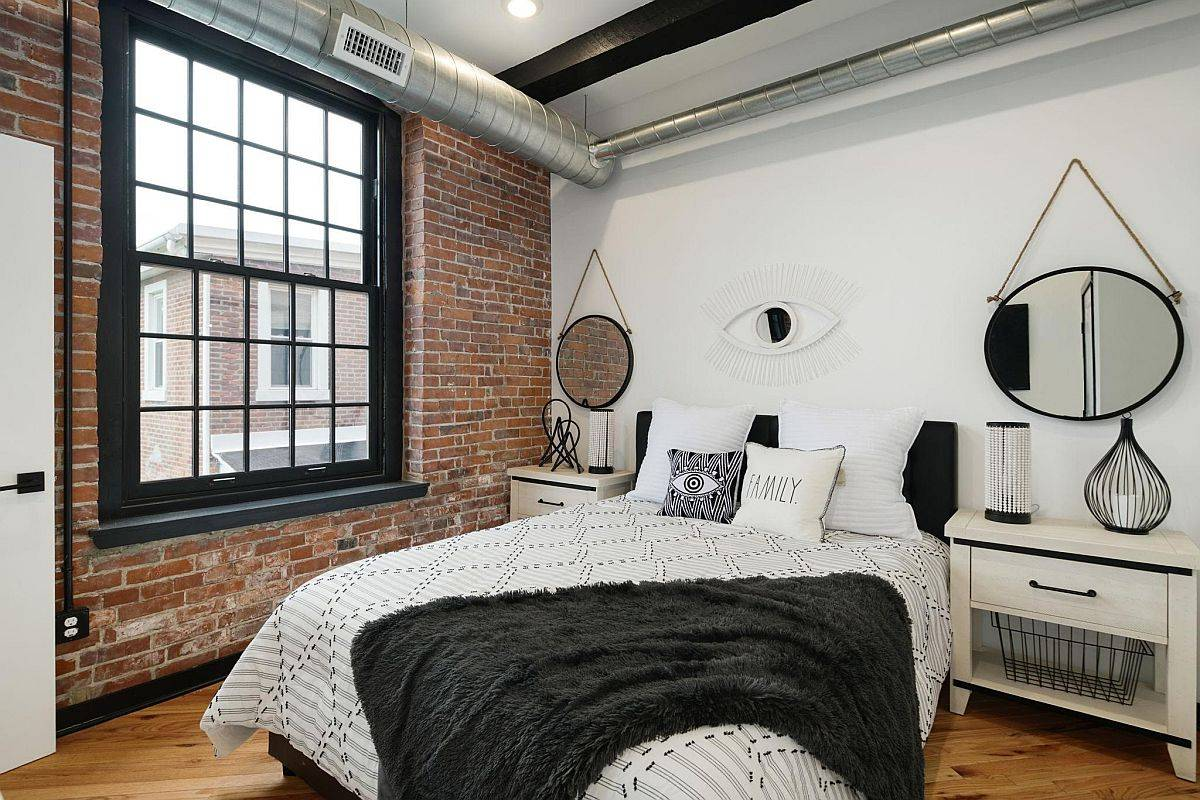 Industrial-bedroom-with-an-exposed-brick-wall-is-just-perfect-for-the-modern-bachelor-pad-28167