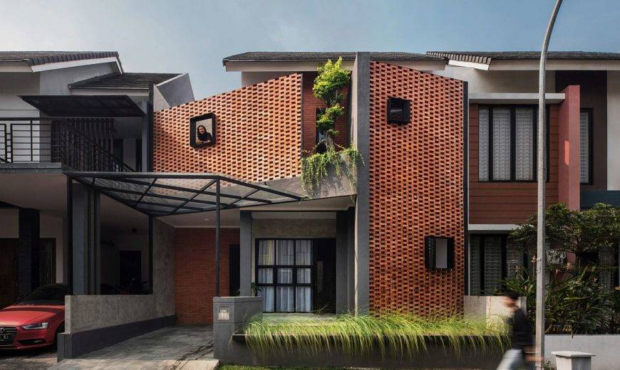 Bespoke interlocking Brick Façade Keeps Out Tropical Heat at this Indonesian Home