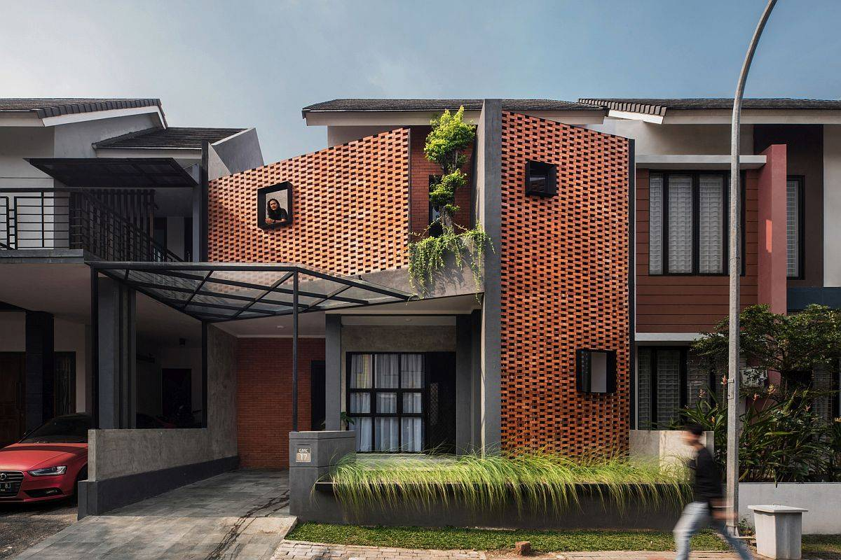 Interlocking brick facade of the house gives ita new aesthetic and functional makeover