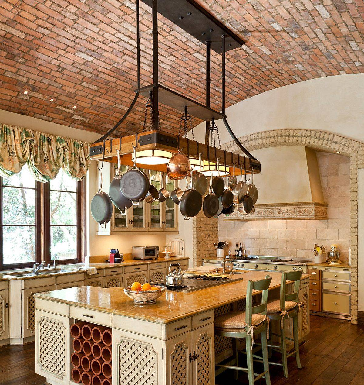 Lighting-si-combined-beautifully-with-the-pot-rack-in-this-expansive-Meidterranean-kitchen-71385