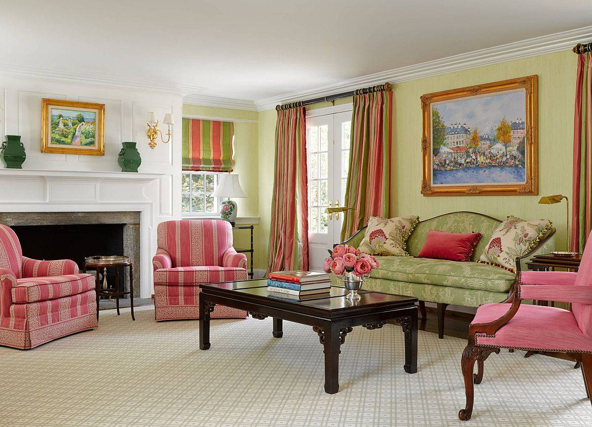 Modern-farmhouse-style-living-room-in-green-and-pink-91021