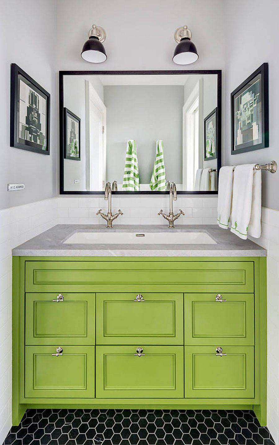 Polished-powder-room-in-Brooklyn-with-a-lovely-green-vanity-and-gray-walls-68753