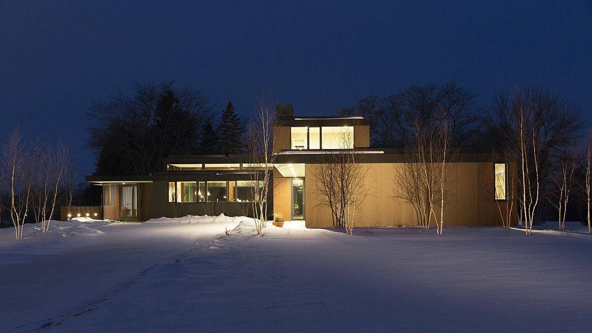 Rice hull composites and thermally fused laminate shape teh exterior of this creative home