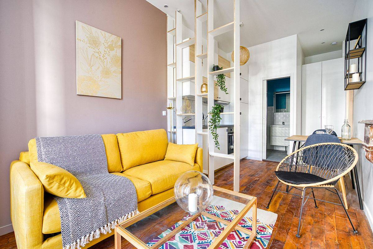 Small 18 square meter studio apartment in Lyon created from a larger 60 sqm apartment