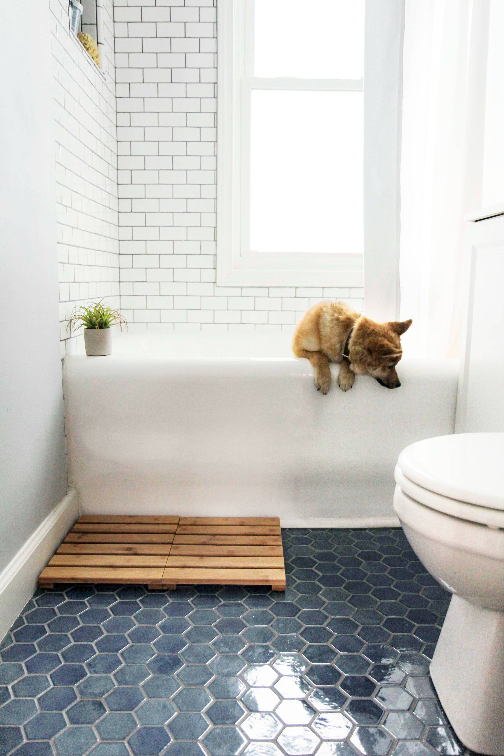 Subway-tiles-on-the-wall-coupled-with-hexagonal-floor-tiles-in-the-breezy-modern-bathroom-45637