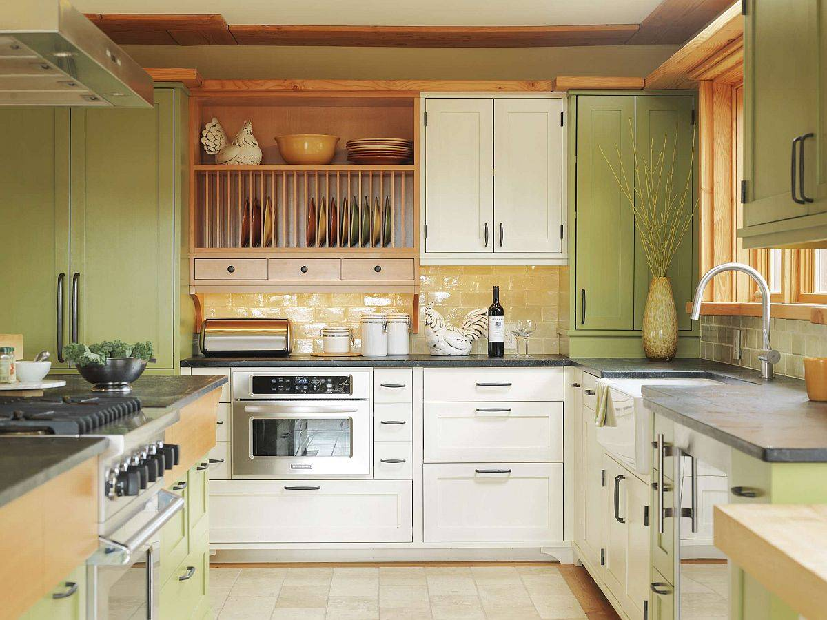 Trendy-contemporary-kitchen-in-yellow-and-green-with-midcentury-touches-41234