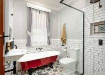 Vintage-standalone-bathtub-in-red-is-just-perfect-for-the-white-small-farmhouse-style-bathroom-10832-217x155