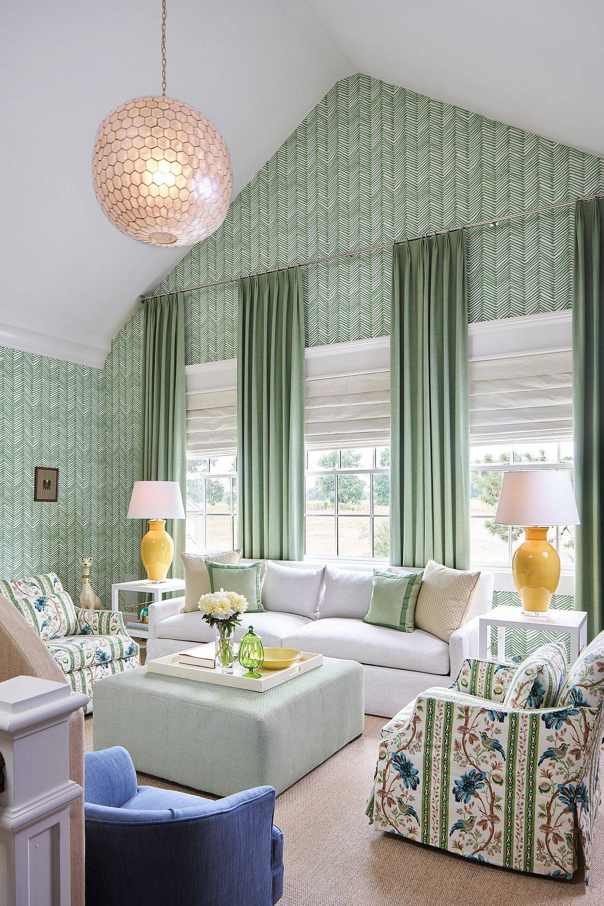 Wallpaper-and-drapes-bring-green-to-this-living-room-of-family-lake-retreat-70646