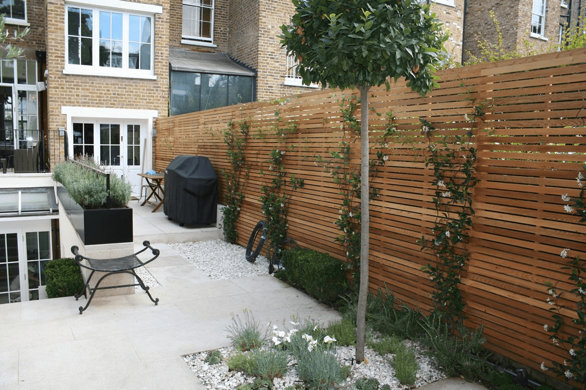 wooden privacy fence with ivy