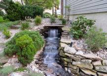 waterfall in stone backyard