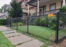 front yard black chain link fence