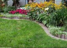 brick border surrounding garden