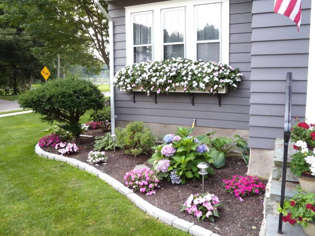 front garden with window sill flower boxes