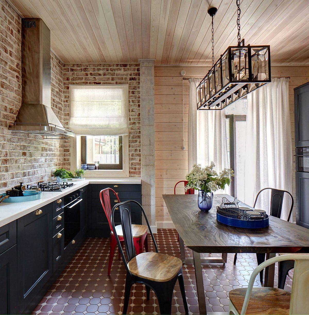 Brick and wood walls look just classy in the modern farmhouse kitchen