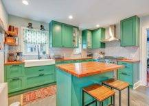 Bright-and-beautiful-modern-kitchen-is-draped-in-a-lovely-shade-of-sea-green-along-with-blue-for-the-island-14591-217x155