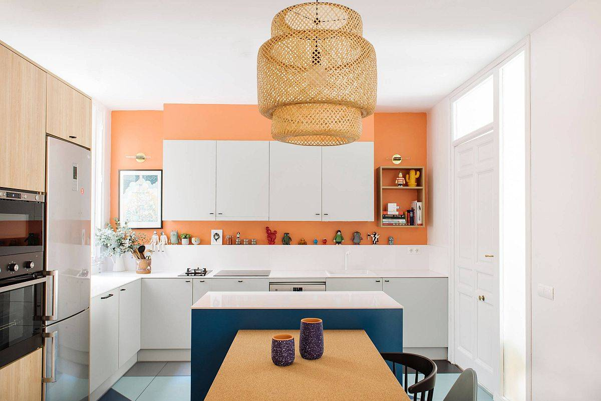 Contemporary-kitchen-in-white-with-accent-wall-feature-in-Tangerine-Color-of-the-year-not-too-long-ago-47566