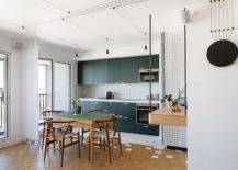 Contemporary-single-wall-eat-in-kitchen-with-dark-green-cabinets-and-table-that-ushers-in-matching-hue-25854-217x155