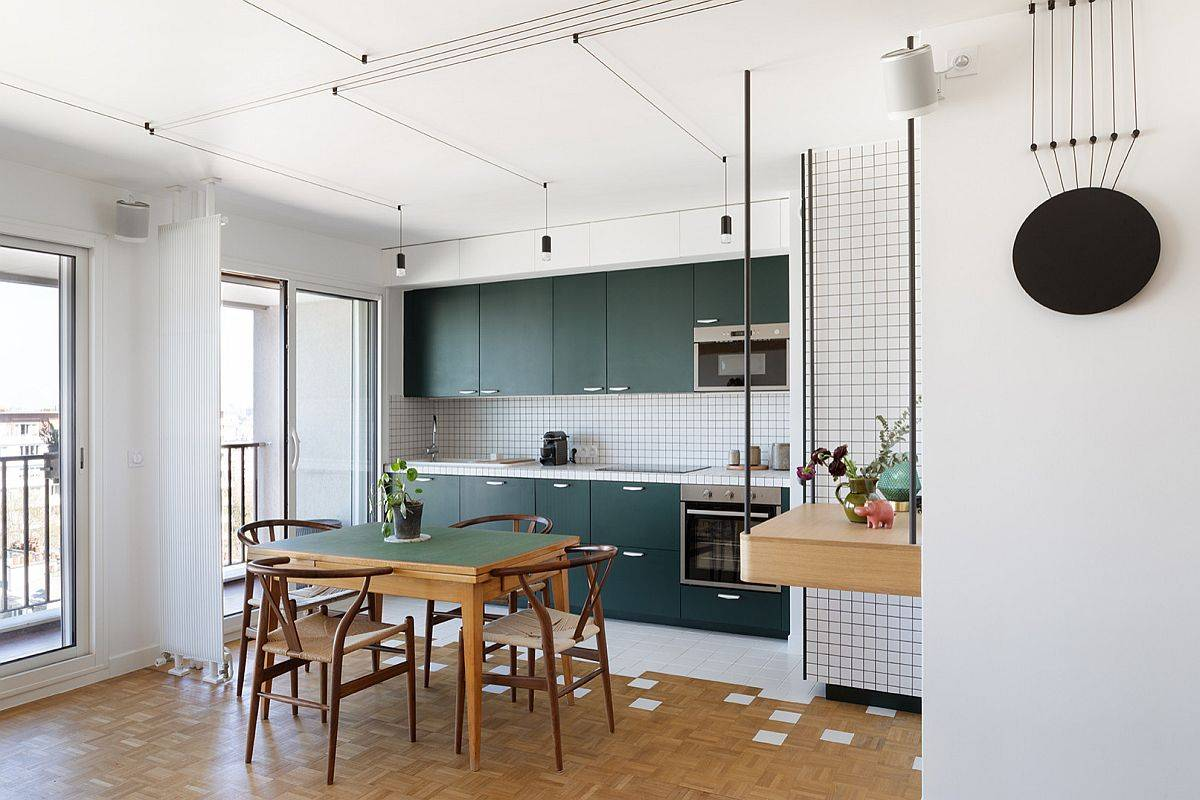 Contemporary-single-wall-eat-in-kitchen-with-dark-green-cabinets-and-table-that-ushers-in-matching-hue-25854