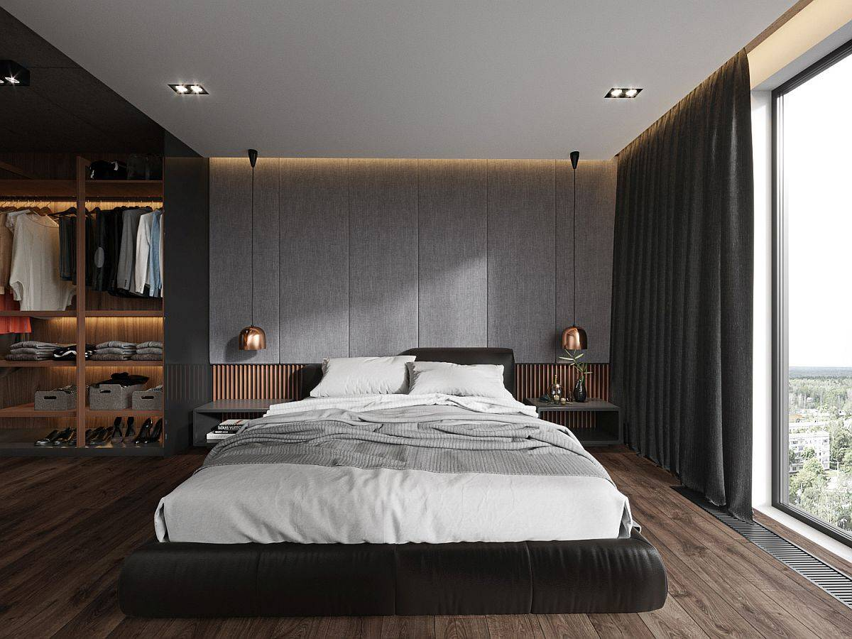 Custom-headboard-tufted-wall-copper-bedside-pendants-and-a-wonderful-wardrobe-for-the-bachelor-bedroom-61739