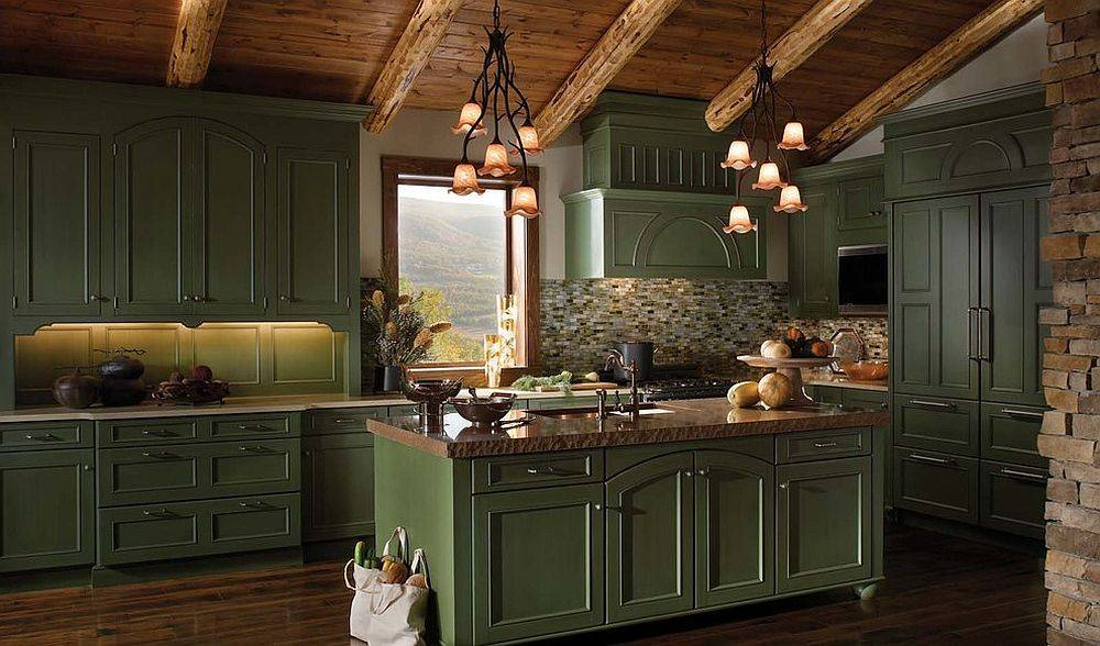 Elegant-green-cabinets-in-the-gallery-kitchen-showcase-how-the-color-cuts-across-style-barriers-90883