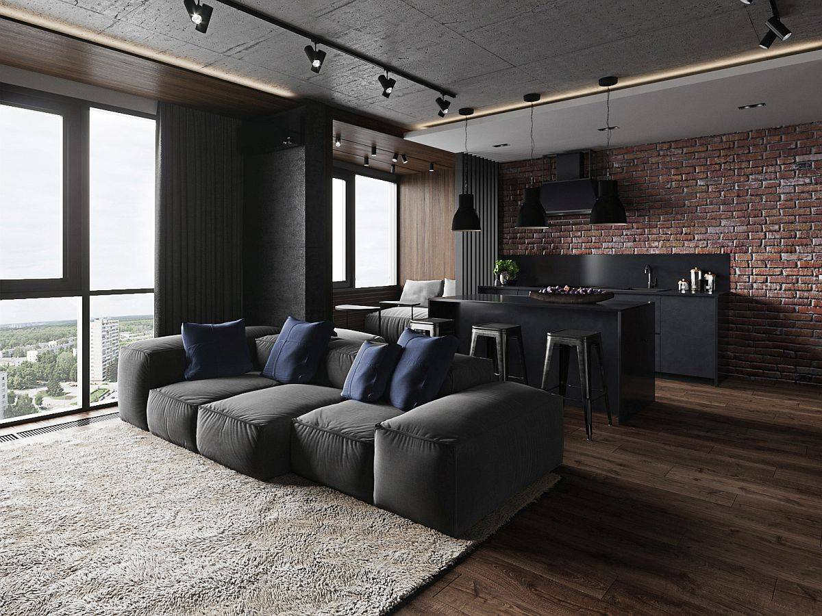 Exposed brick wall in the backdrop along with the views makes for an impressive and charming apartment interior