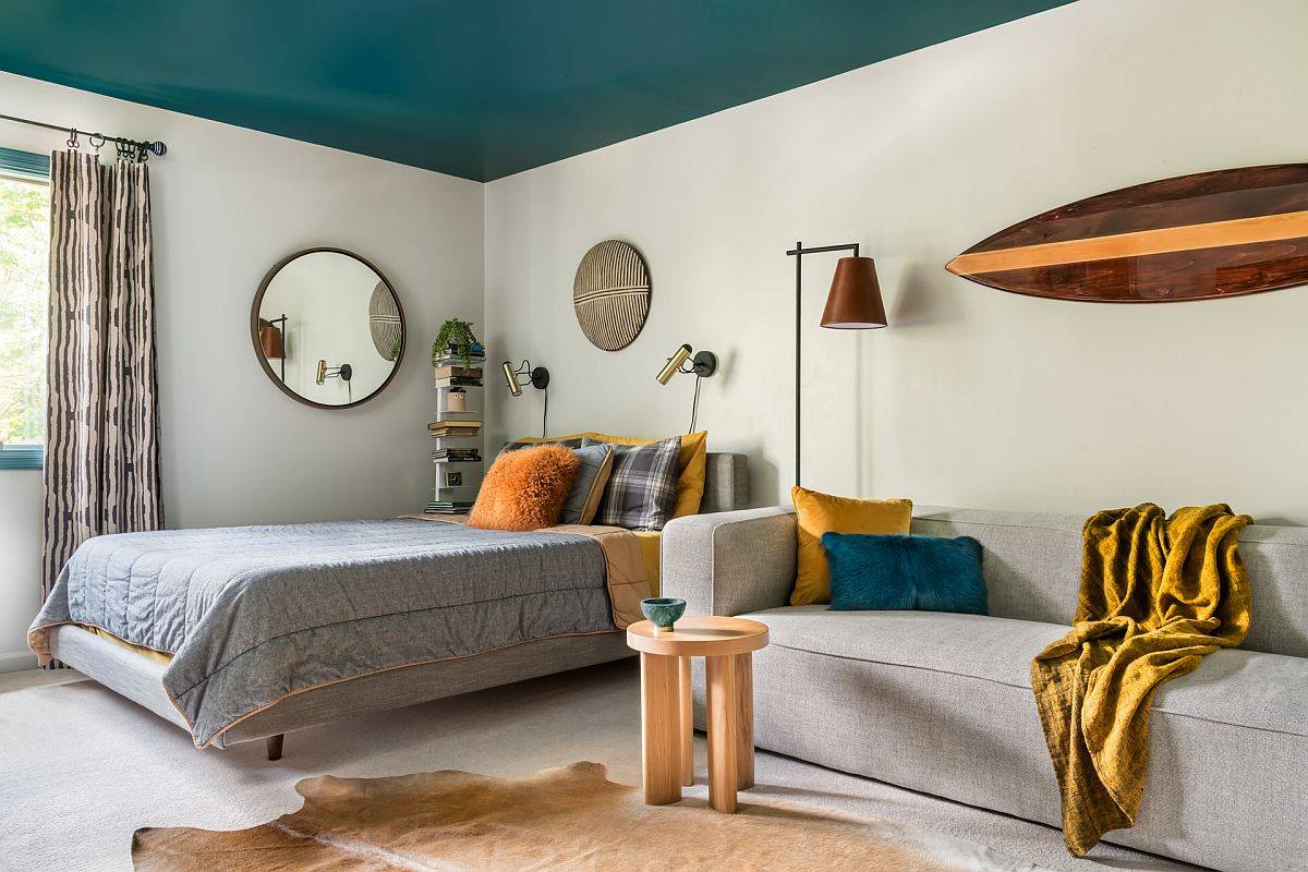 Gorgeous contemporary teen bedroom with painted teal ceiling feels just picture-perfect and relaxing