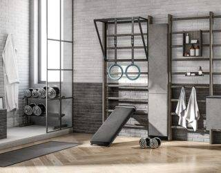 Practical Home Gym and Bathroom Rolled into One with Smart Italian Design