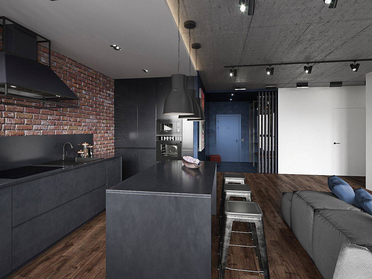 Modern-industrial-kitchen-of-the-Kiev-apartment-with-dark-finishes-and-lovly-pendnats-above-the-island-32453