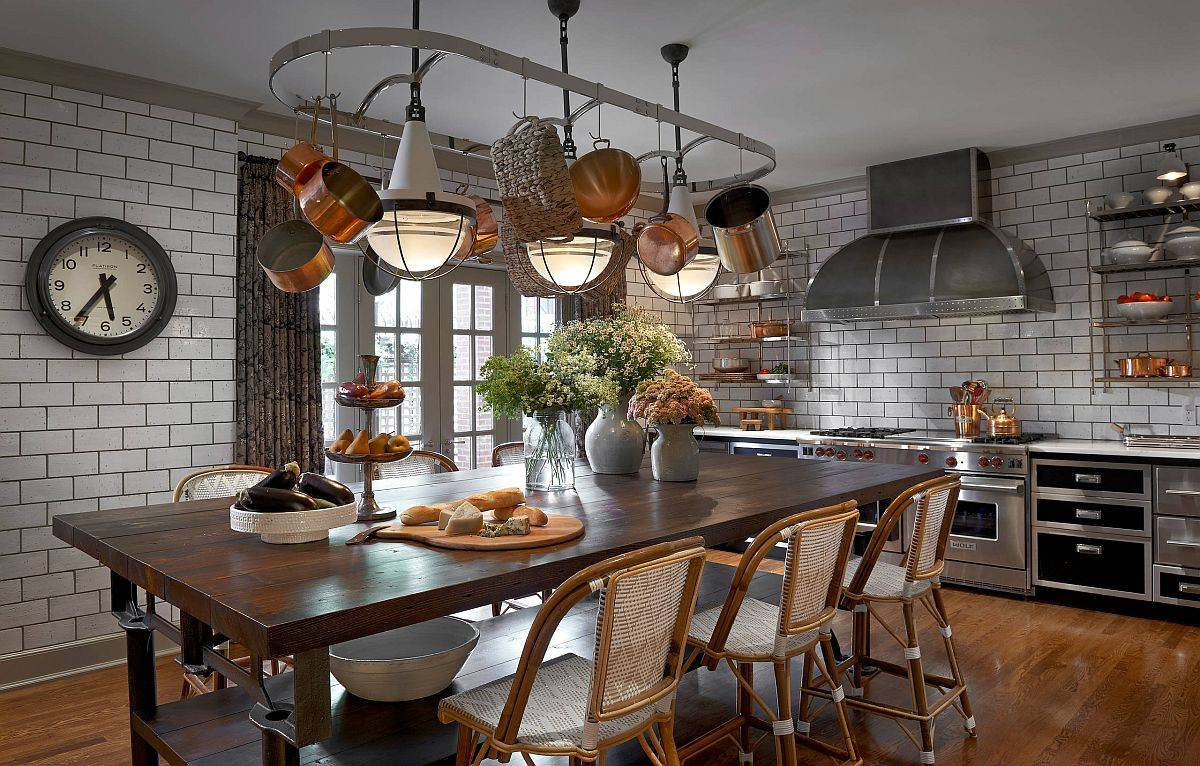 Pot-rack-coupled-with-lovely-lighting-above-the-dining-space-makes-a-statement-in-this-eat-in-kitchen-11945