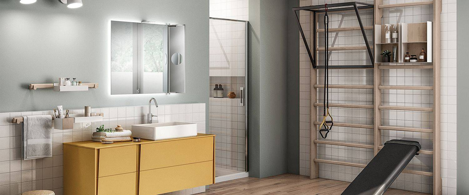 Scavolini-bench-pull-up-bars-along-with-the-Gymnastics-Wall-Bars-inspired-backdrop-create-a-lovely-Gym-Space-Bathroom-84046