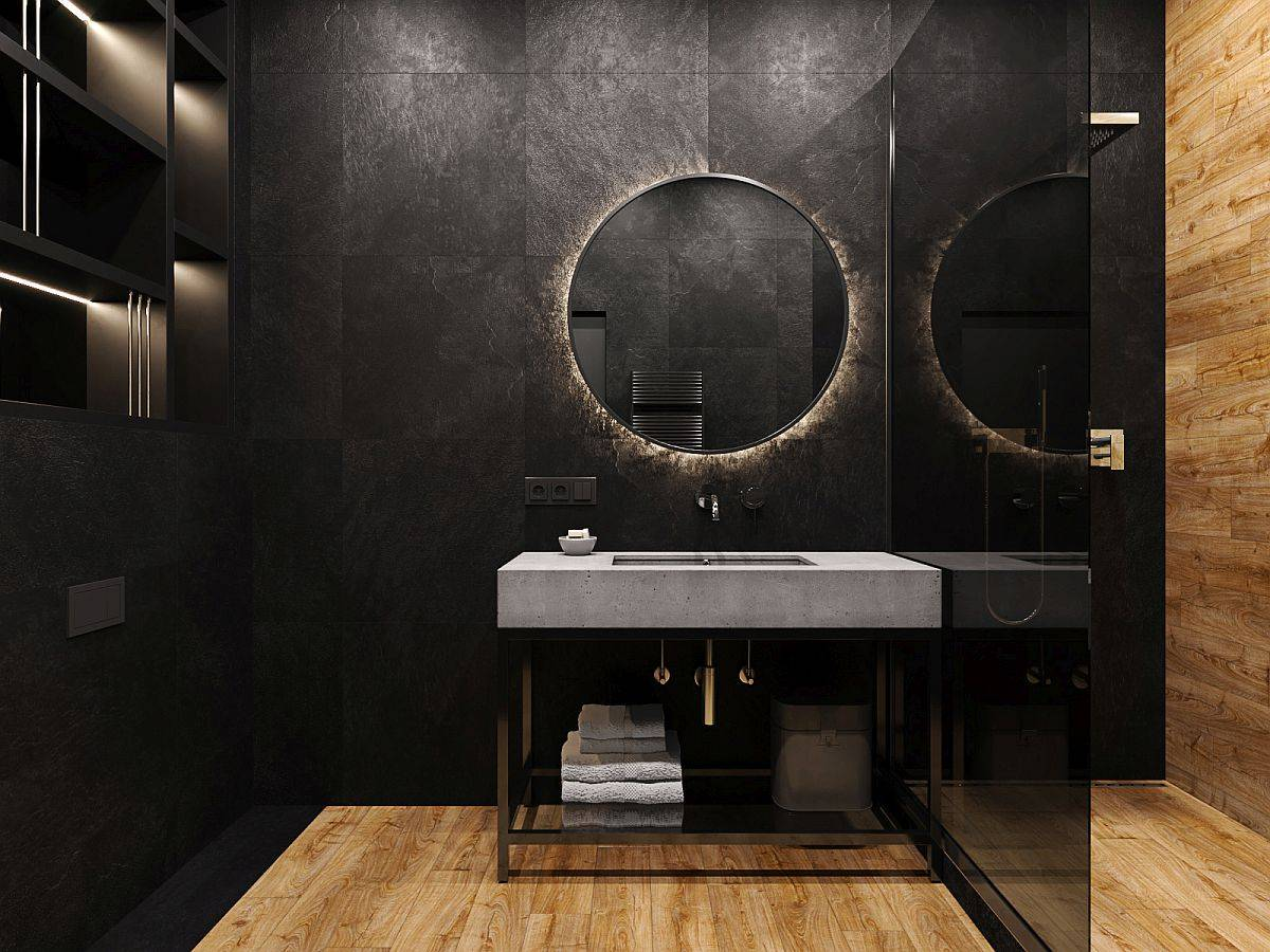 Unique-concrete-sink-in-the-bathroom-makes-a-wonderful-visual-statement-in-the-dark-setting-19408