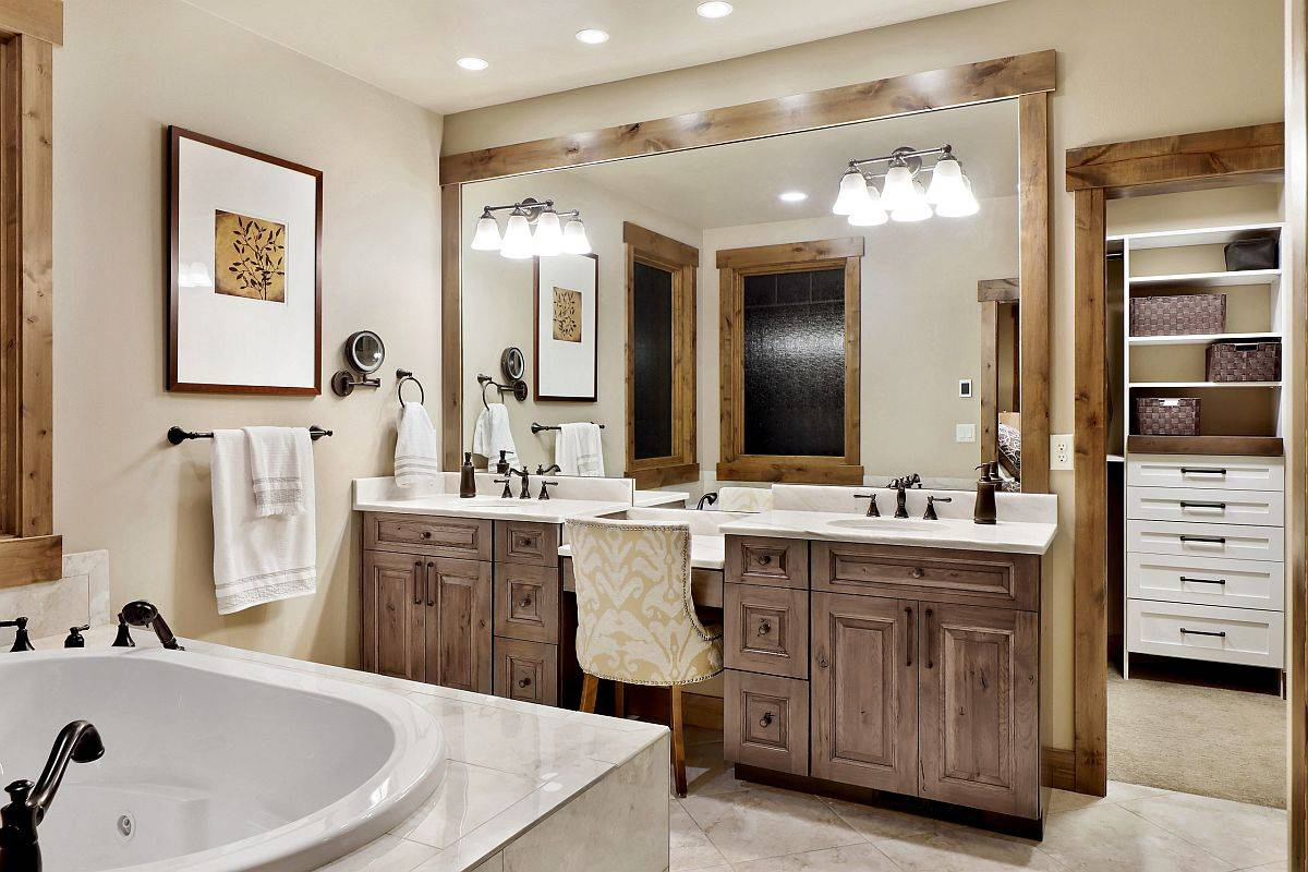 Vanity-and-the-wooden-frames-add-rustic-beauty-to-this-modern-bathroom-60828