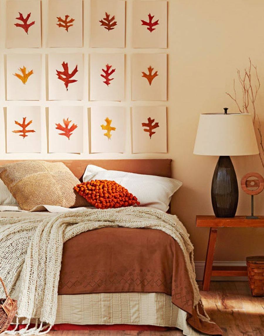 Wall art and colors the bedroom bring fall indoors!