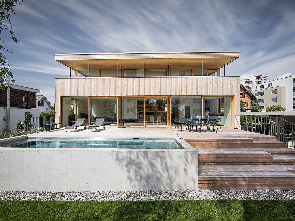 Wood and concrete are the two materials that were used extensively throughout the home