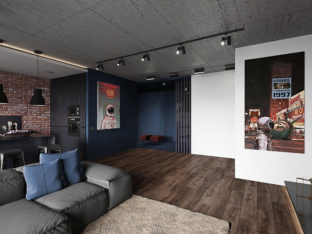 Wooden-floors-add-a-sense-of-warmth-to-an-apartment-clad-in-gray-and-black-with-decor-in-matching-hues-15832